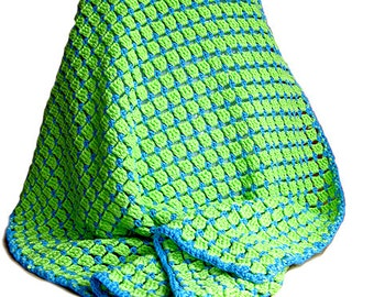 bright green and blue crochet baby / todler blanket,  100% soft cotton, 27x39 inch