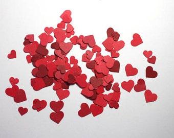 300 Valentines Day Heart Confetti, Mini Red Heart Confetti, Die Cut Hearts, Valentines Day Decor, Wedding Confetti Bridal Shower Decorations