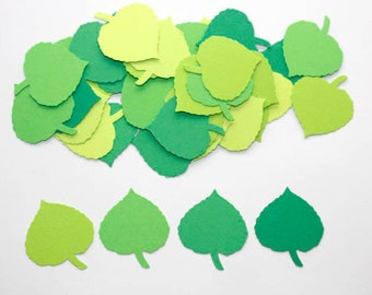 100 Mixed Green Leaf Confetti, Die Cut, Leaves, Punch, Paper Cutouts, Spring, Party Supplies, Wedding, Leaf Cut Outs, Baby Shower