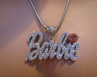 Iced Out Bling Nicki Minaj inspired Red Lips Barbie Crystal silver chain necklace