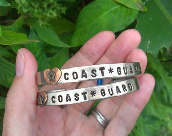 Coast Guard Jewelry, Coast Guard Bracelet , Military Bracelet, Copper, Brass, Silver Metal Cuff ,Personalized Military Jewelry