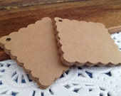 """1.75"""" 25 Pack of Square Scalloped Gift/Favor/Merchandise Tags"""
