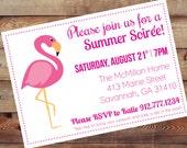 Pink Flamingo Invitation-Digital 5X7 JPG File