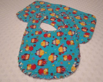 Ready to Ship ~ Baby Girl Bib and Burp Cloth Set ~ Reversible Owls and Flowers Triple Layers of Soft Flannel