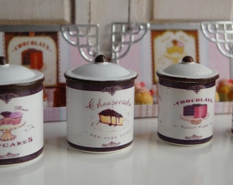 Bakery Shop Kitchen  Metal Canisters for Dollhouse in 1:12 Scale