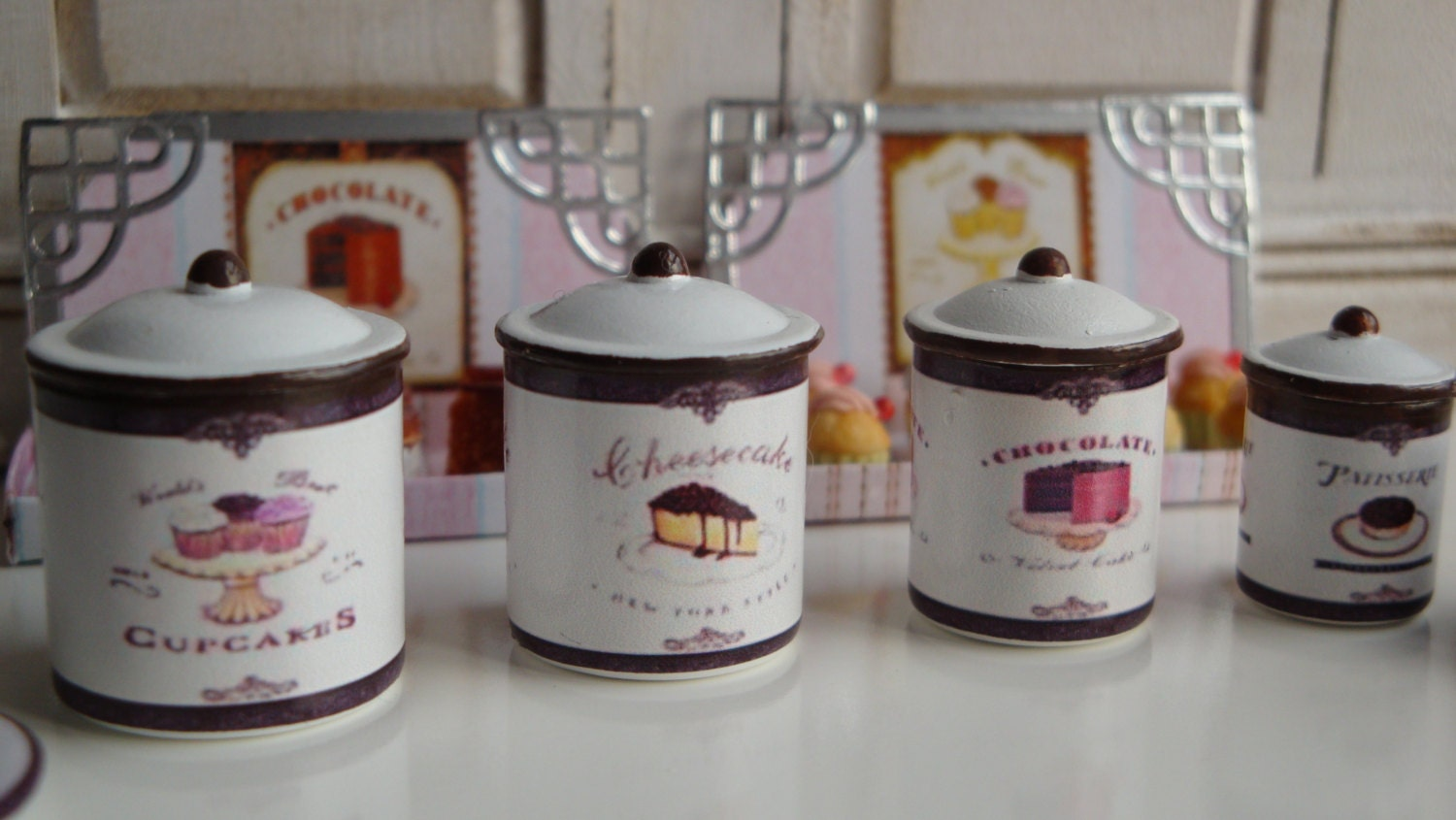 Bakery Shop Kitchen Metal Canisters for Dollhouse in 1 12