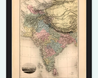 Old Map of  India 1892 Asia