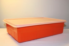 Storage Box, Plastic Craft Container, Orange Sewing Box with Lid