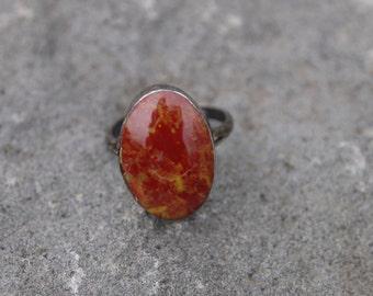 Vintage jasper ring, sterling silver, womens vintage ring, jasper ring, red stone ring, red vintage ring, sterling silver ring, red ring