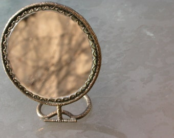 French Vintage Solid frame engraved silver  Mirror with wood frame tree flower romantic beveled glass