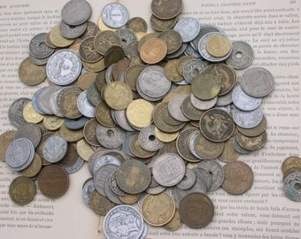 French old coins collection  25pcs Antique vintage coins  1920 1930 1940  1950 1960 1970 1980 1990   collectible  charm
