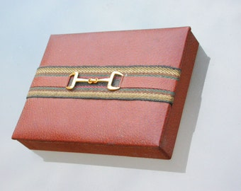 French vintage brown leather box jewelry box gift box cigarette box  with gold horse shoe decoration ribbon