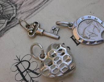 3PCS French vintage sterling silver heart pendant  large sterling silver pendant heart charm horse shoe charm key ornate pendant drop