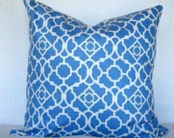 16x16 Pillow Cover. Waverly Lovely Lattice Sateen Azure Pillow cover. Azure and white pillow cover