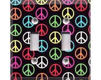 Colorful Peace Signs Double Light Switch Cover