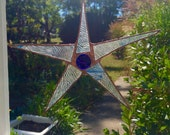 Blue Staines Glass Star textured