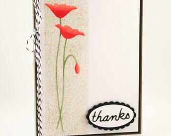 Handmade Poppy Thank You Card, Red Poppy Card, Thanks Card