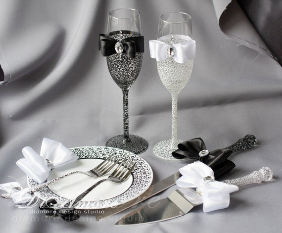 black wedding cake serving set wedding cake knife and cake server wedding glasses set of 11883