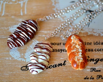 Miniature food brioche necklaces in 3 flavors,polymer clay brioche necklaces,fake prioche necklaces