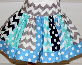 chevron skirt girls skirt blue aqua navy gray chevron and polkadot skirt Summer skirt Winter skirt Beach outfit Snow queen outfit