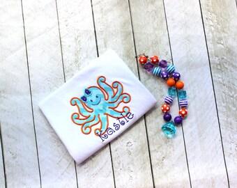 girls octopus summer shirt  ONLY beach shirt girl purple orange aqua birthday shirt  toddler summer birthday clothing girl birthday
