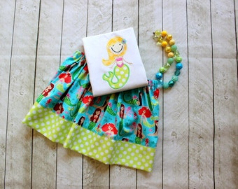 mermaid outfit girls mermaid birthday skirt set toddler baby girl summer outfit beach clothing lime green aqua pink michael miller fabric