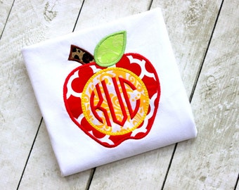 girls apple shirt monogrammed apple shirt for toddler girl embroidered applique top shirt birthday girls apple outfit shirt clothing