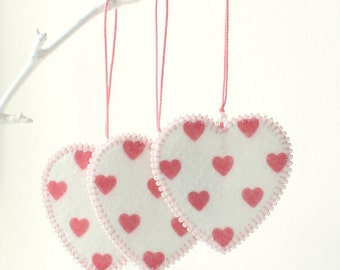 Set of 3 Felt Heart Ornaments, Home decor,  Favors for Valentine's Day