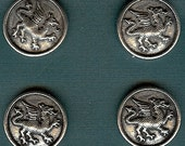 """RJ208 - Heraldic Dragon Buttons - Card of 4 - Pewter - 7/8"""""""