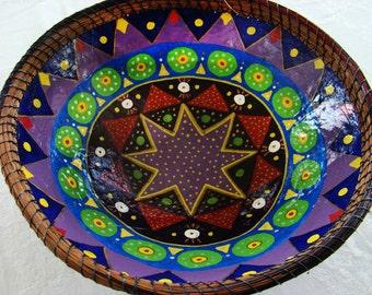 Large Paper Maché Bowl, Handmade Bowl, Decorative Bowl, Kitchen Bowl, Handpainted Bowl, Paper Bowl