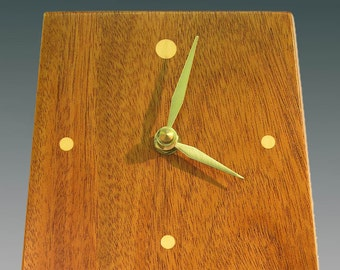 Mahogany wall clock with holly and padauk (vermillion) inlays