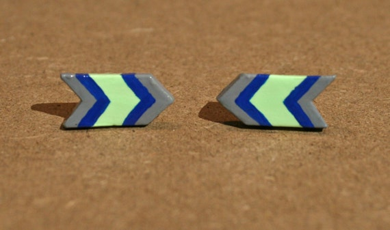 Arrow Post Earrings - Green, Blue and Gray - Neon Green - Chevron Polymer Clay