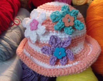 women and girls crochet hats made with cotton yarn