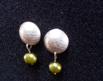 stirling silver earrings with a pearl