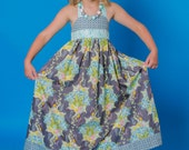 Gorgeous girls halter neck maxi in LillyBelle, gray, blue, green, yellow and pink floral, size 6, ready to ship!