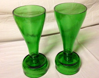 Wine Bottle Wine Glasses or Champagne Flutes. Recycled Glass Bottles. For Her. Green Glass. Wine Lover.