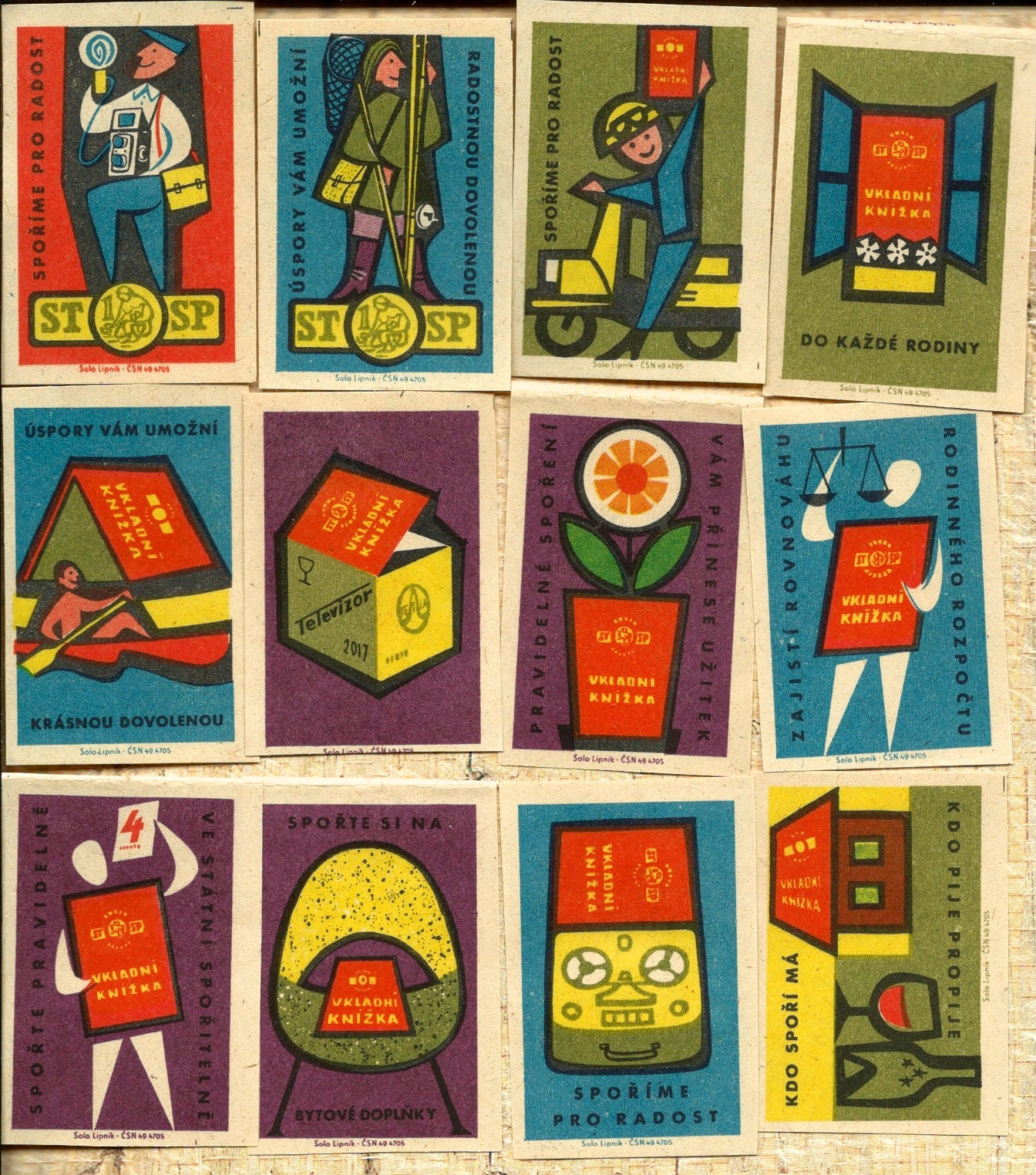 12 Vintage Mid Century Advertising Matchbox Labels from