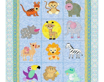 Baby Quilt Pattern Animals -  Safari Pets 12 animals from the forrest and dessert