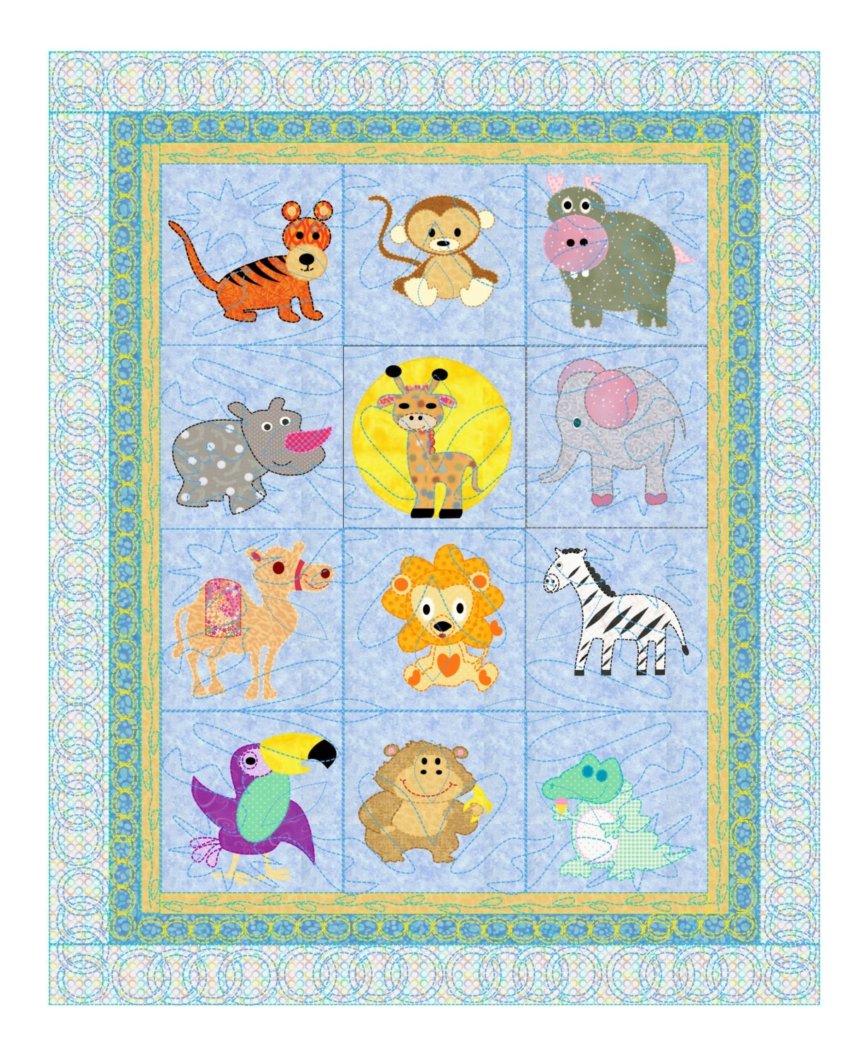 Baby Quilt Pattern Animals - Safari Pets 12 animals from the