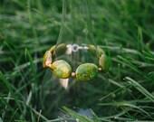 Grüne Stein und Holz Perlen Armband