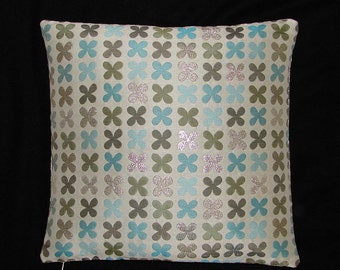 "Quatrefoil Silver by Alexander Girard - Maharam - Mid-century Modern design accent pillow 17"" x 17"" feather/down insert included"