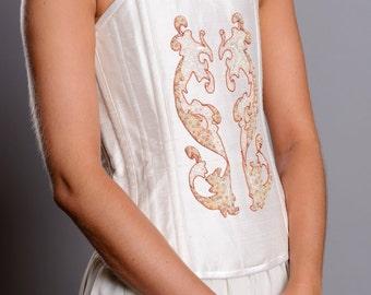 Isadora Art Nouveau silk bridal corset