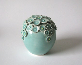Blue green porcelain lidded jar/ ceramic container / celadon lidded vessel by echo of nature, yumiko goto