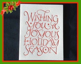 Christmas Card with Letterpressed Calligraphy (Box of 10)