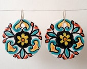 "MAJOLICA inspired dangle earrings (1.5"" or 1.25""), Italian, Spanish, Latin, Flower, Talavera, Tile, Ceramic, Hand painted, Blue, Red, Yellow"