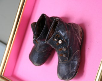 Victorian- Edwardian-baby shoes-black buttonup--shadow box shoes-mounted-framed-button boots-black leather