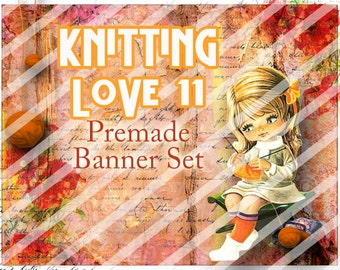 "Banner Set - Shop banner set - Premade Banner Set - Graphic Banners - Facebook Cover - Avatars - Bisiness Card - "" Knitting Love 11"""