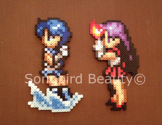 items similar to sailor mercury  sailor mars  perler beads  geekery  anime on etsy