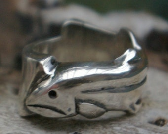 Mans Sterling Silver Trout Ring T10