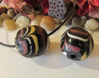 D-00611-  1 handrolling Lampwork Bead 18x20mm approx. stone imitation 100% Handmade!
